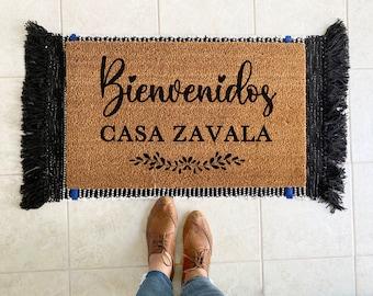Custom Last Name Doormat in Spanish| Custom Doormat with Last Name| Custom Family Name Doormat| Bienvenidos Doormat Spanish