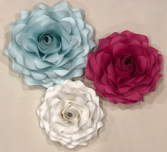 Set Of Three Pink White Mint Paper Rose Flower Wall Decoration