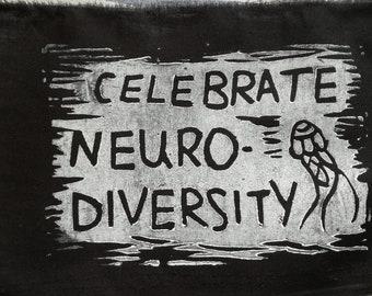 Celebrate neurodiversity patch -lino print