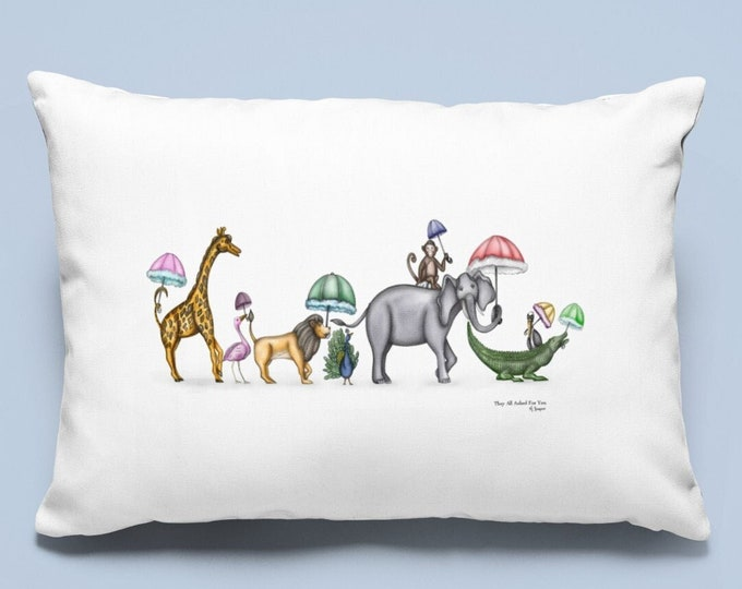 They All Asked For You, Spun Polyester Lumbar Pillow, Parading Animal Watercolor Art, Baby Nursery or Children's Home Decor