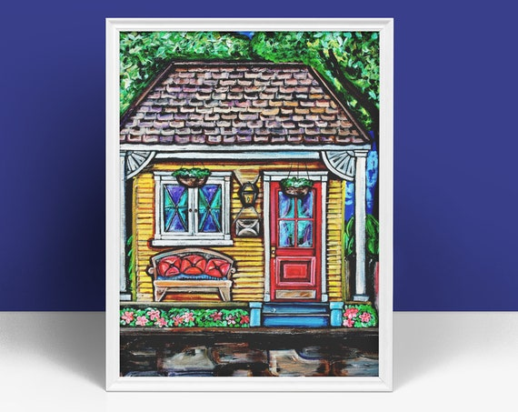 Yellow Shotgun House Wall Art, New Orleans Architectural Wall Art, Reproduction in Various Sizes, Premium Matte Vertical Fine Art Print