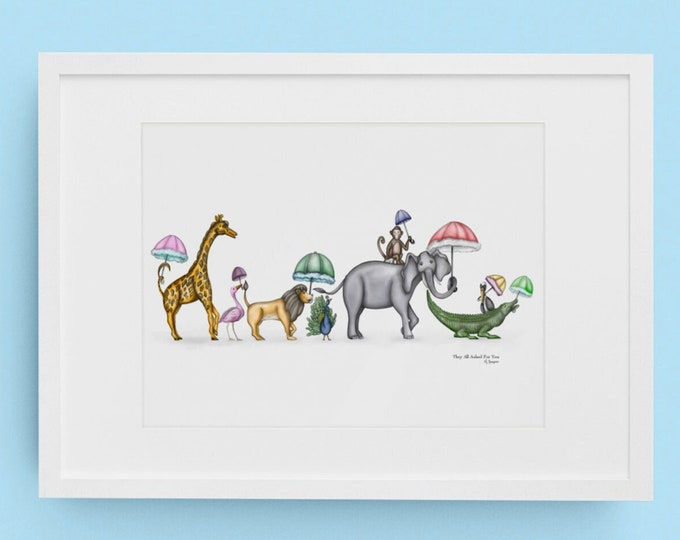 They Asked For You In Watercolor, Parading Animal Second Line Children's Wall Art, Various Reproduction Sizes,  Premium Horizontal Print
