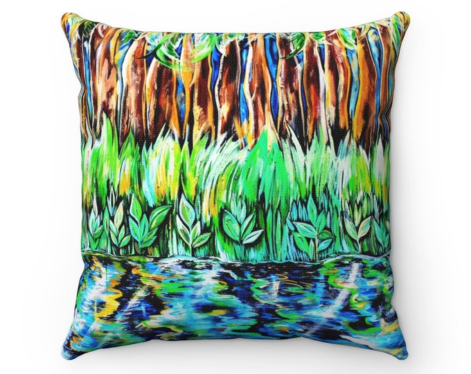 Bayou Reflection, Spun Polyester Square Pillow