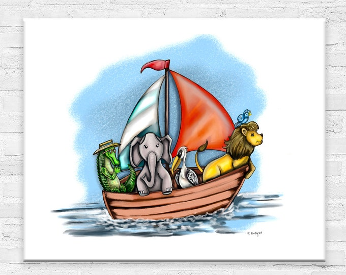 Boating Buddies, Gallery Canvas Gallery Wraps, Watercolor Sailing Animals Print | Various Sizes