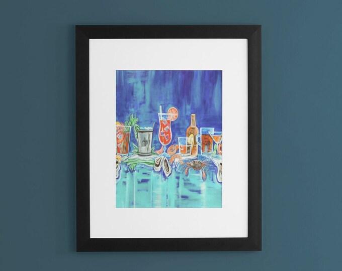 Drinks Before Dinner In Blue | Premium Matte Vertical Print | Various Sizes