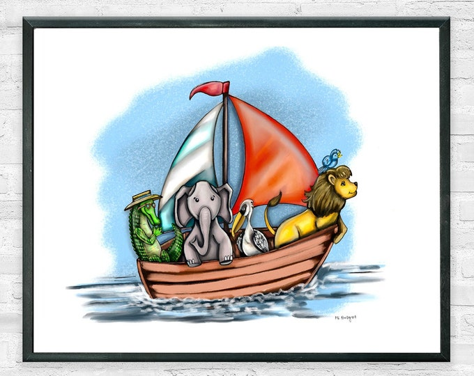 Boating Buddies, Premium Art Print, Sailing Animal Decor, Nautical Nursery Print, Kids Decor | Alligator, Lions Elephant and Pelican Sailing