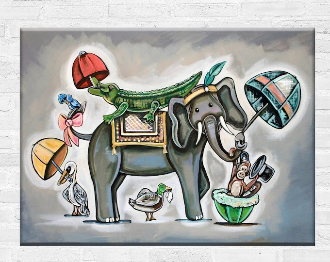 Rain or Shine | Animals with Umbrellas  | Various Sizes | Children's - Nursery Art | Home Decor | Canvas Gallery Wrap | Various Sizes