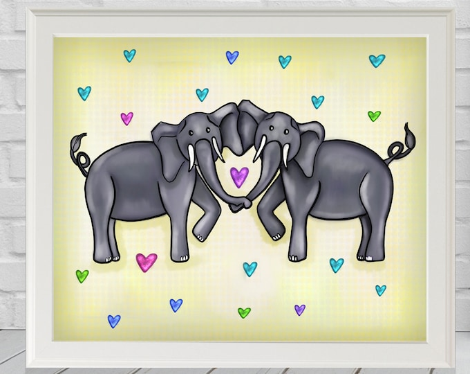 Elephant Heart Yellow | Premium Matte Print | Various Sizes | Children Art | Wall Decor | Yellow Artwork Print