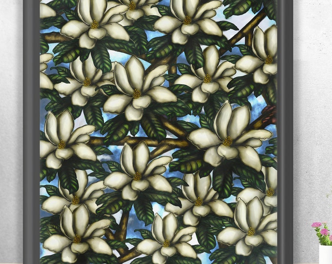 Magnolias In The Sky | Premium Matte Vertical Print | Various Sizes