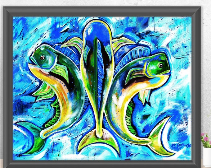 Dolphin De Lis   Premium Matte Horizontal Print   Various Sizes