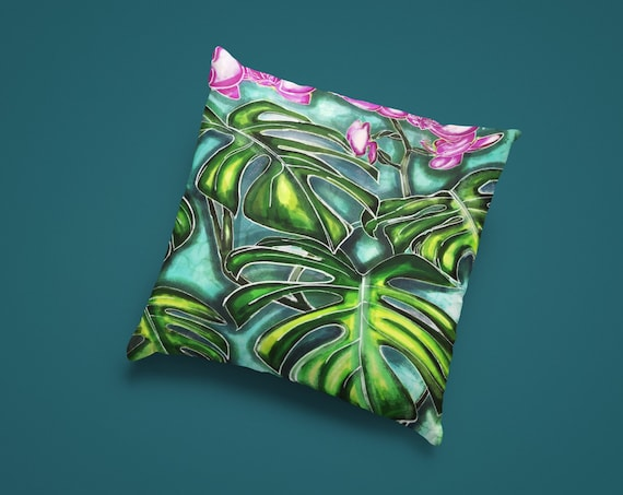 Blue Orchid Watercolor Design Accent Throw Pillow | Spun Polyester Square Pillow | Cover and Pillow Included