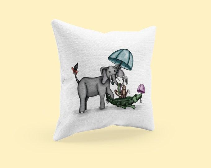 Animal Second Line Pillow , Parading Animal Accent Pillow, Mardi Gras Theme Nola Nursery Decor, Spun Polyester Square Pillow & Cover
