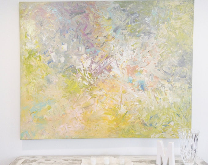 Abstract Original Acrylic Abstract Pastel Painting | Large Wall Art Decor | Textured Paint
