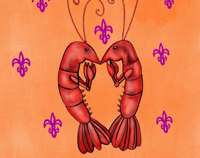 Crawfish Heart   Orange and Purple Fleur De Lis   Canvas Gallery Wraps