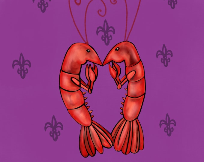 Crawfish Heart | Purple Fleur De Lis | Canvas Gallery Wraps
