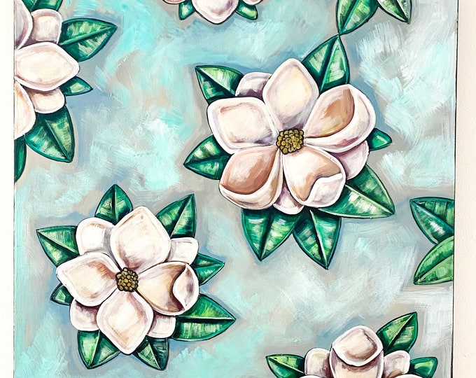 Magnolia on Blue Original Acrylic Painting | Large Wall Art Decor | Southern Floral Decor | Square Canvas