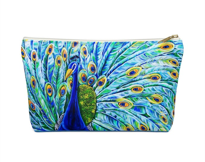 Royal Peacock | Accessory Pouch w T-bottom | Durable Make-up, Jewelry, Pencil, Cosmetic Travel Bag | Various Sizes