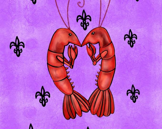 Crawfish Heart | Purple and Black Fleur De Lis | Canvas Gallery Wraps