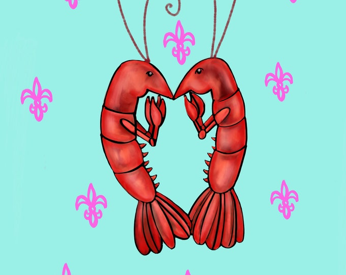 Crawfish Heart | Teal and Pink Fleur De Lis | Canvas Gallery Wraps