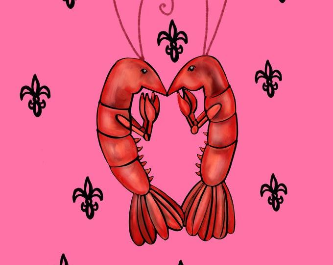 Crawfish Heart | Pink and Black Fleur De Lis | Canvas Gallery Wraps