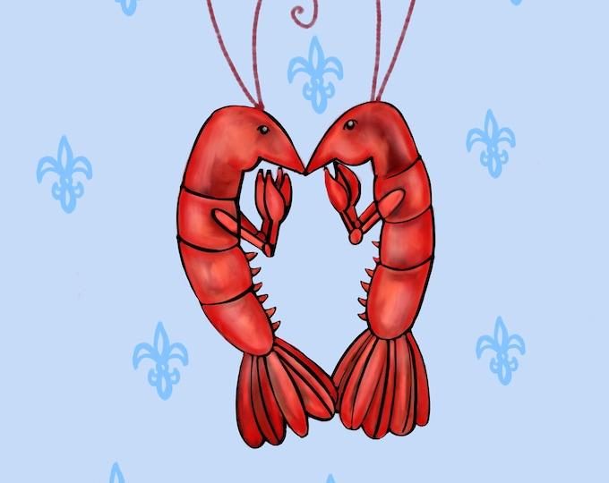 Crawfish Heart | Light Blue Fleur De Lis | Canvas Gallery Wraps
