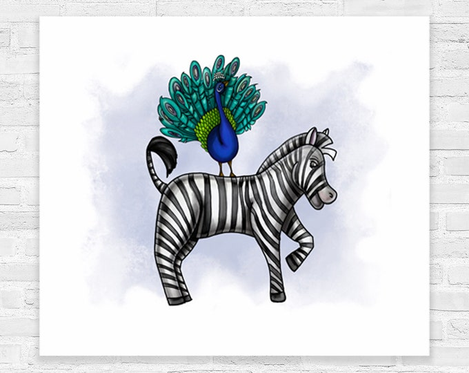 Zebra and Peacock In Blue | Canvas Gallery Wraps | Nursery Animal Art | Various Sizes | Children's Art | Zebra Nursery Theme | Watercolor