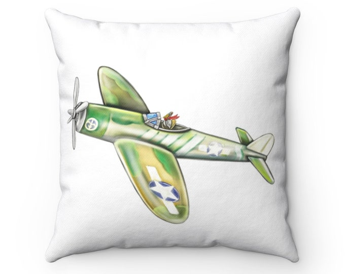Pelican Airforce | Spun Polyester Square Pillow | Pelican Decor, Airplane Theme Nursery or Kids Decor | Various Sizes