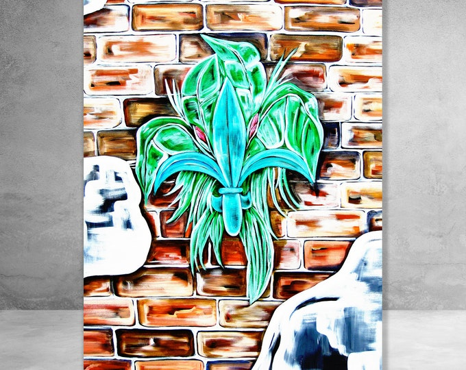 Fleur De Lis On Brick | Canvas Gallery Wraps | Various Sizes