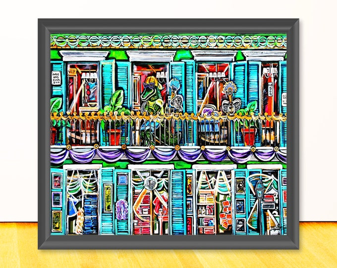 Cajun On The Balcony | Bourbon Street Scene Artwork |Premium Matte Print