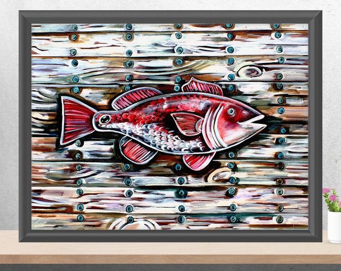 Redfish On The Plank   Premium Matte Horizontal Print   Various Sizes