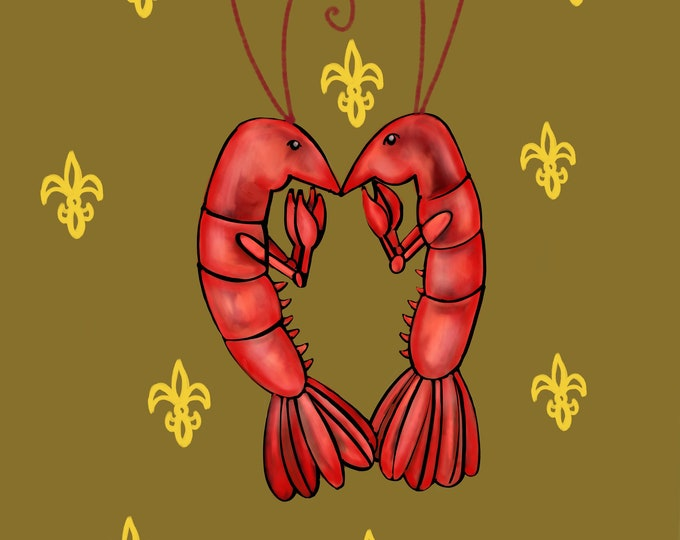 Crawfish Heart | Brown and Yellow Fleur De Lis | Canvas Gallery Wraps