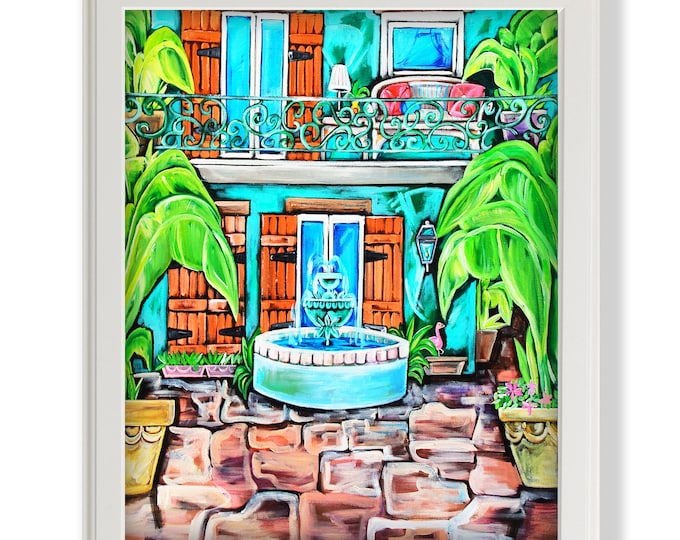 Teal Courtyard Study | Premium Matte Print | Various Sizes | Architectural Art | Reproduction | Unframed