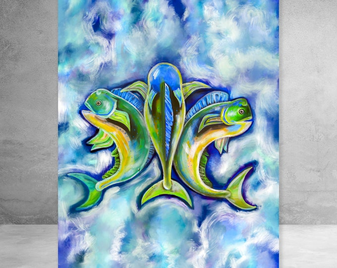 Mahi Mahi De Lis | Vertical | Canvas Gallery Wraps | Various Sizes | Nautical Art