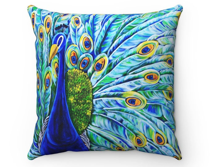 Royal Peacock | Spun Polyester Square Pillow | Peacock Accent Pillow | Home Decor | Accessories