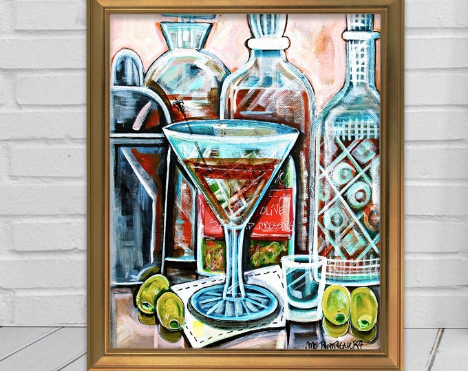 Dirty Martini | Premium Matte Vertical Poster Print | Martini Cocktail Art | Various Sizes
