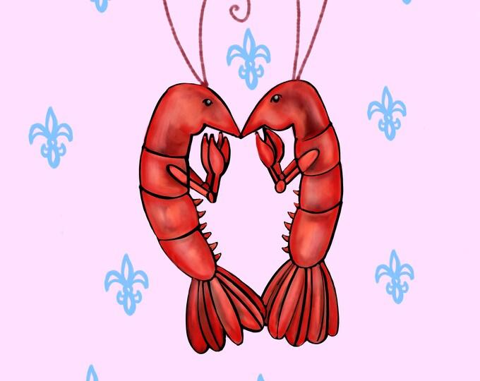 Crawfish Heart | Pink and Blue Fleur De Lis | Canvas Gallery Wraps