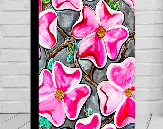 Dogwoods In Bloom | Canvas Gallery Wraps | Pink and Gray Modern Floral Wall Art Decor | Various Sizes