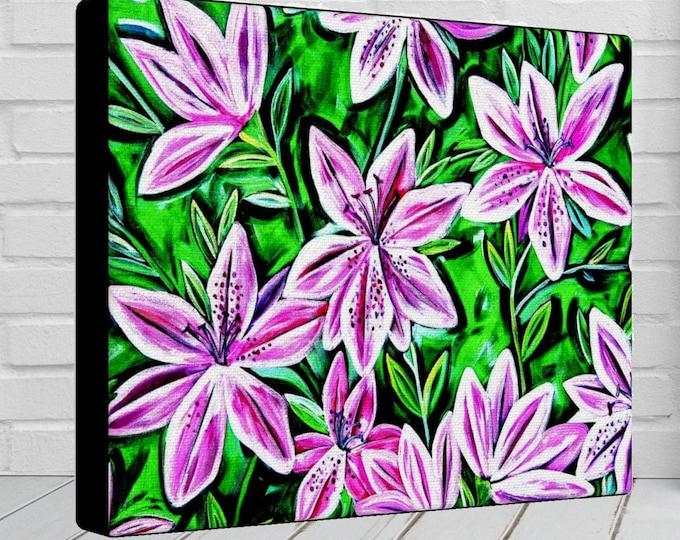 Pink Azalea | Canvas Gallery Wrap | Pink Floral Painting Wall Decor | Various Sizes