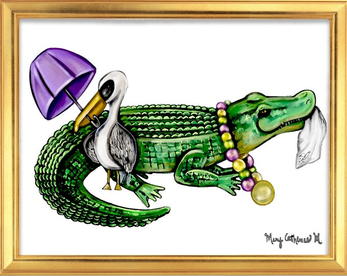 Parading Pelican and Alligator Sketch, Premium Watercolor Art Print, Various Sizes, Mardi Gras Theme Art, Nursery Print or Gift