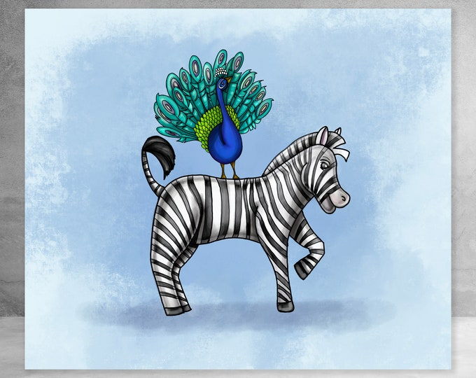 Zebra and Peacock In Blue | Canvas Gallery Wraps | Nursery Animal Art | Various Sizes