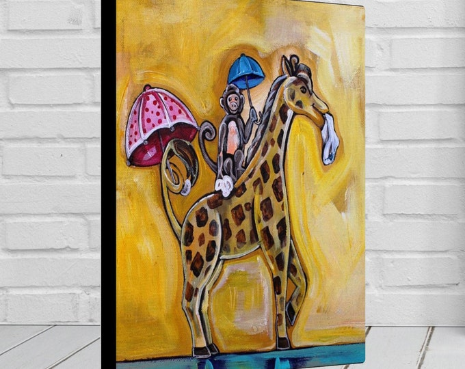Monkey & Giraffe On Parade | Children's - Nursery Art | Home Decor | Canvas Gallery Wrap | Wall Art | Reproduction