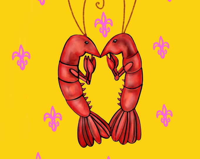 Crawfish Heart | Yellow and Pink Fleur De Lis | Canvas Gallery Wraps