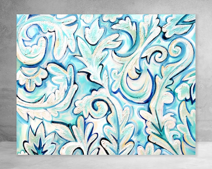 French Blue Abstract | Canvas Gallery Wraps | Various Sizes