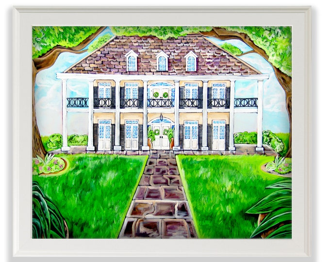 Oak Alley Plantation  | Premium Matte Print | Various Sizes | Architectural Art | Reproduction | Unframed