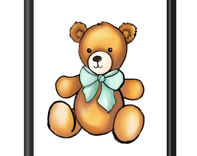 Teddy Bear | Premium Vertical Print | Watercolor Nursery Print | Various Sizes