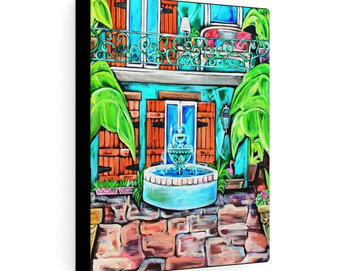 Teal Courtyard Study  | Various Sizes | Architectural Art | Home Decor | Canvas Gallery Wrap | Wall Art | Reproduction