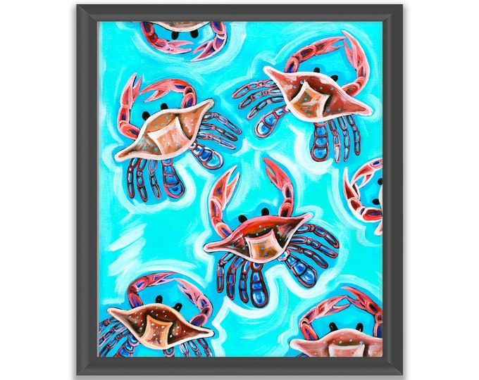 Crabs At Play | Premium Matte Vertical Print | Various Sizes