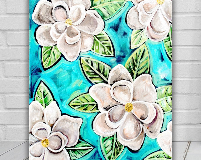Magnolias In Blue | Canvas Gallery Wraps | Floral Wall Decor Art | Various Sizes