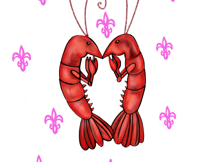 Crawfish Heart | White and Pink Fleur De Lis | Canvas Gallery Wraps