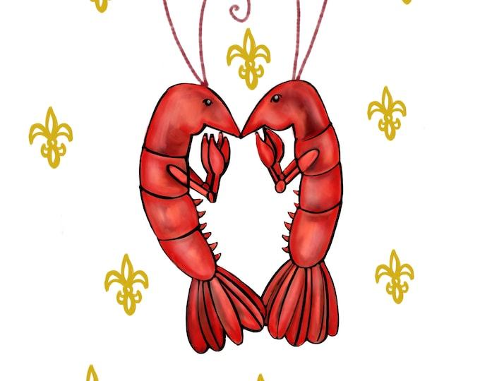 Crawfish Heart | White and Yellow Fleur De Lis | Canvas Gallery Wraps